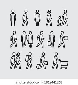 Menschen, die Vektorliniensymbole laufen