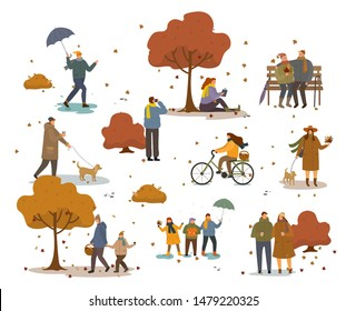People in warm clothes having fun outdoors walking in autumn park. Girl riding bike and grandparents sitting on bench. Man walk his dog and friends with umbrella. Autumn park landscape with people