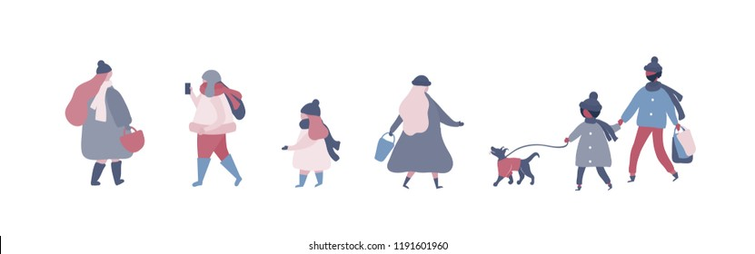 People in warm winter clothes walking on street with dog, going to work, talking on phone. Women men children in outerwear performing outdoor activities. Vector illustration in flat style