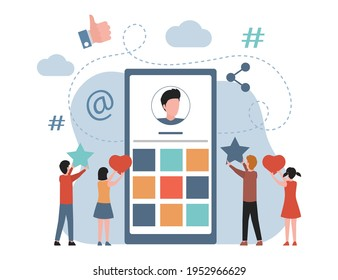 People watching blog in the internet, like and subscribe to blogger profile vector flat illustration. Podcast, video blog, internet blog, streaming service, social media concept.