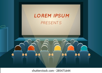 People watching film in cinema. Movie and screen, seat audience, show and concert, auditorium presentation, row and entertainment, vector illustration