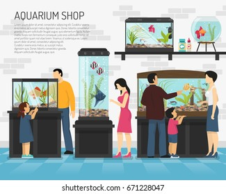 People watching fish in big and small aquariums in pet shop flat vector illustration