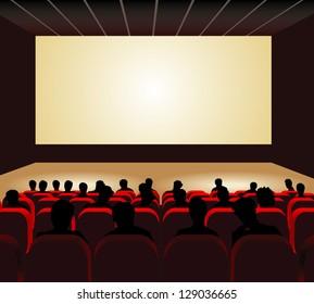 People watching movie at cinema hall. Vector illustration.