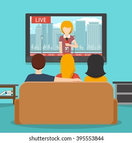 People watching news on television . Tv screen and sofa. Vector flat illustration