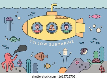 People are watching the sea in a yellow submarine. The sea where various marine life lives. flat design style minimal vector illustration.