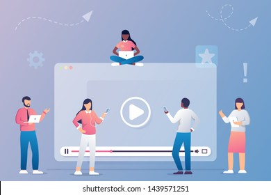 People watching and sharing online video. Digital internet television, web videos player or social media live stream vector concept illustration. Online cinema, play and watching movie