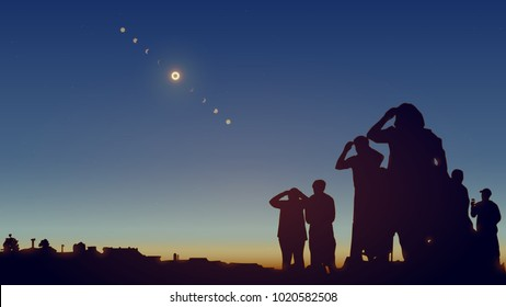 People are watching a solar eclipse in the sky with stars. Realistic vector illustration.