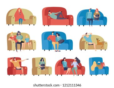 People Watching Television and Resting Having Lazy Free Time on Comfortable Couch and Armchair. Flat Modern Vector Illustration Set Isolated on White Background