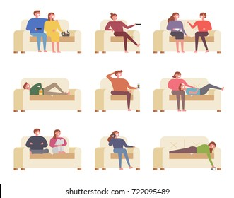 People watching TV on the couch vector illustration flat design