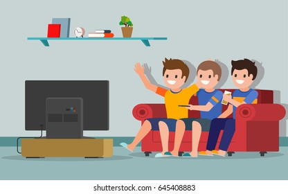 People watching TV. Soccer or football fans watching the game. Smiling boys sitting on a sofa in a living room in front of the television screen. Isolated. Vector