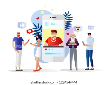 People watching webinar, video, news, tutorial. Vector illustration. Character design. Blog content, blogging, post, content strategy, social media, chatting. Social media marketing.