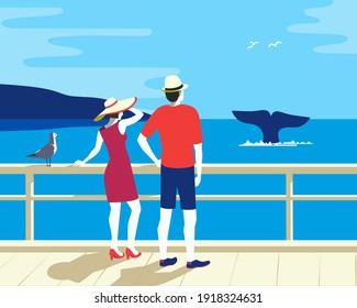 People Watching Whale Tail in Ocean, flat tourism vector poster. Couple on Whale watching boat tour cartoon illustration. Summer seaside tourist travel vacation concept. Wildlife underwater mammals background