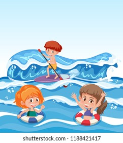 People and water activity illustration