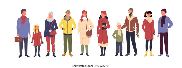 People wear casual winter clothes, man woman kid in trendy outerwear standing in row