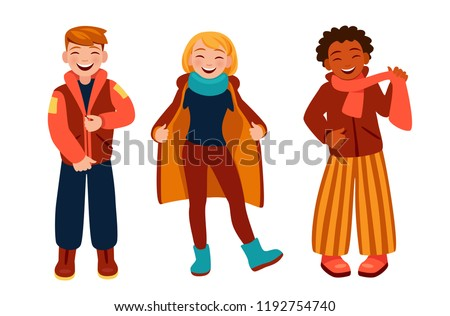 people wear warm clothes happy teenagers stock vector royalty free