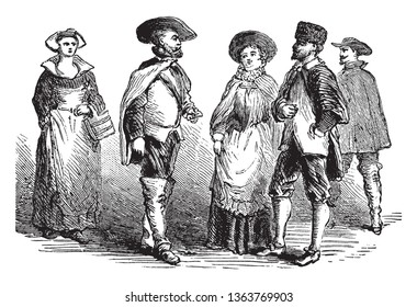 People wearing Costume of the Swedes,vintage line drawing or engraving illustration.