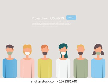 People wearing a face mask for protect Covid-19 and pastel background. Cartoon style protection concept