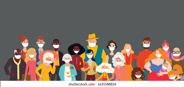 People wearing face masks, air pollution, contaminated air, world pollution. Group of coworkers wearing medical masks to prevent disease, flu, gas mask. Coronavirus
