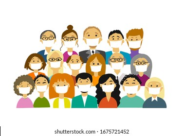 People wearing face masks, air pollution, contaminated air, world pollution. Group of business people wearing medical masks to prevent disease, flu, gas mask. Vector illustration