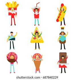 People wearing fast food snacks costumes set, men and women advertising menu of restaurants and cafes colorful characters vector Illustrations