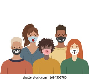People wearing funny medical face masks to prevent disease, flu, air pollution. Trendy vector illustration in flat cartoon style.