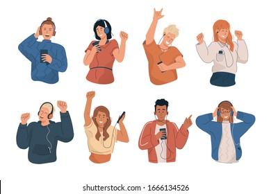 People wearing headphones and earphones. Happy young people listening to music and dancing with mp3 player and smartphone. Flat cartoon characters set