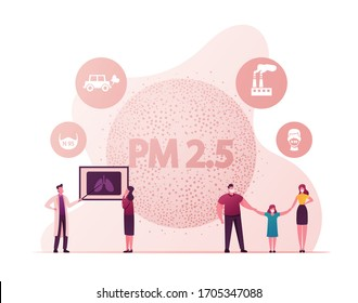 People Wearing Masks, Fine Dust Pm 2.5 Concept. Man, Woman and Child Characters Protecting of Air Pollution. Industrial Smog Protection, Doctor Explain of Emission Danger. Cartoon Vector Illustration
