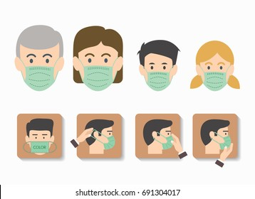 People wearing medical mask icon isolated, step to wearing medical mask, vector illustration
