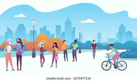 People wearing medical masks to prevent coronavirus 2019-nCoV, COVID-19, SARS-CoV-2 walk in the urban city public park vector illustration.