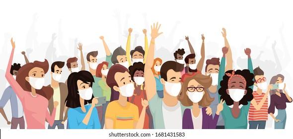 People wearing medical masks protecting from virus. Coronavirus quarantine. Coronavirus epidemic in China. Flu, air pollution, contaminated air, world pollution. Flash of influenza. Crowd of people