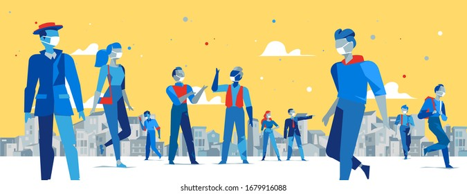 People wearing medical protective face mask against infection or pollution in the city. Spreading coronavirus outbreak and pandemic in the world. Concept for quarantine. Vector illustration