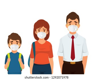 People wearing  particulate respirator mask in air pollution cartoon vector illustration isolated on white background