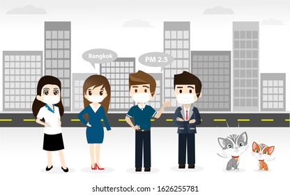 People wearing protective face masks, Everyone in Masks because of fine dust PM 2.5, Fine dust, air pollution, industrial smog protection concept flat style design. vector cartoon character, In city.