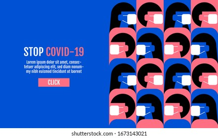 People wearing protective Medical mask for prevent virus Wuhan Covid-19, Template Banner Design, Flat Design Graphic, vector pattern Background.