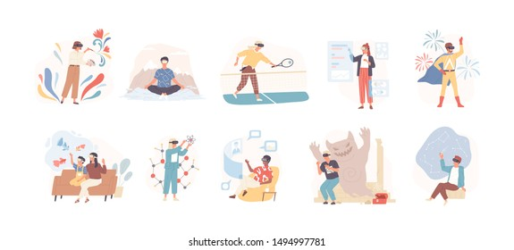 People wearing virtual glasses flat vector illustrations set. Youth having fun, playing tennis, drawing, meditating in VR headset isolated cartoon characters on white background. Modern entertainment.