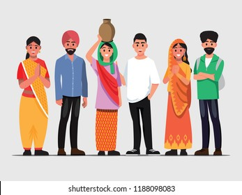 People Welcome To In India,vector illustration of Indian couple of different culture
