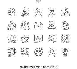 People Well-crafted Pixel Perfect Vector Thin Line Icons 30 2x Grid for Web Graphics and Apps. Simple Minimal Pictogram
