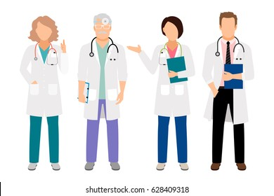 People in white coats vector illustration. Full body standing male medical doctor and female physician isolated for lab illustration