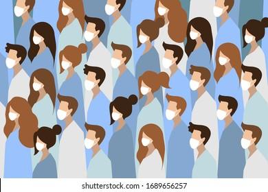 People in white medical face mask. Concept of coronavirus quarantine vector illustration.