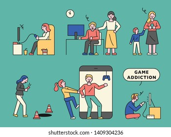 People who are addicted to the game. flat design style minimal vector illustration