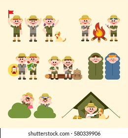 People who camp and various situations vector illustration flat design