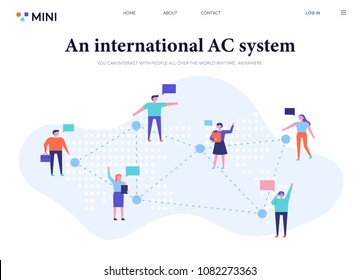 People who connect and communicate with the network. flat design style vector illustration set