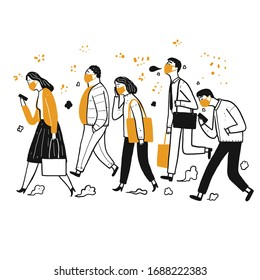 A lot of people who daily use. Walking, hygiene masks The prevention of contagious diseases. Hand drawn, Vector Illustration doodle style.