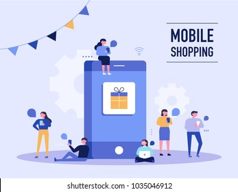 People who do mobile shopping in front of huge cell phones. vector illustration flat design