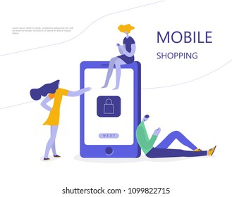 People who do mobile shopping in front of huge cell phone. Vector illustration flat design.