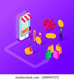 People who do mobile shopping. Vector illustration flat design.Sale, consumerism and people concept. People shop online using smartphone,laptop. Landing page template. 3d vector isometric illustration