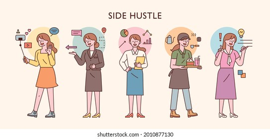 people who do side hustles. A female character with various occupations. outline simple vector illustration.