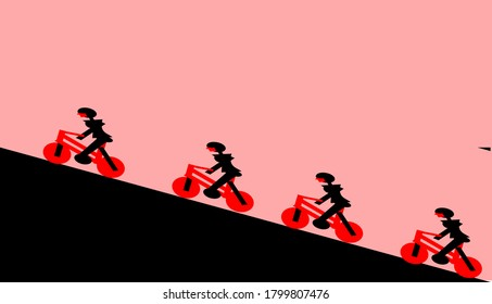 people who are doing cycling activities climb at dusk in the hills