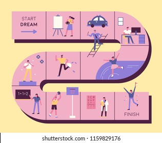 People who dream of various jobs expressed by board game concept. flat design style vector graphic illustration set