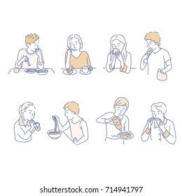 People who eat food vector illustration flat design